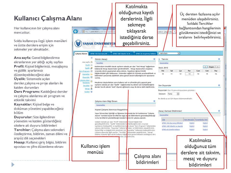 Kullanıcı Çalışma Alanı Her kullanıcının bir çalışma alanı mevcuttur. Solda kullanıcıya özgü işlem menüleri ve üstte derslere erişim için sekmeler yer