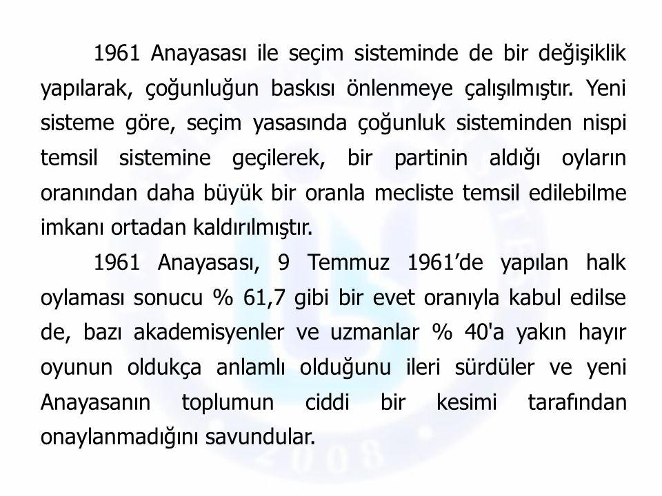 1961 Anayasası ile seçim sisteminde de bir değişiklik yapılarak, çoğunluğun baskısı önlenmeye çalışılmıştır. Yeni sisteme göre, seçim yasasında çoğunl