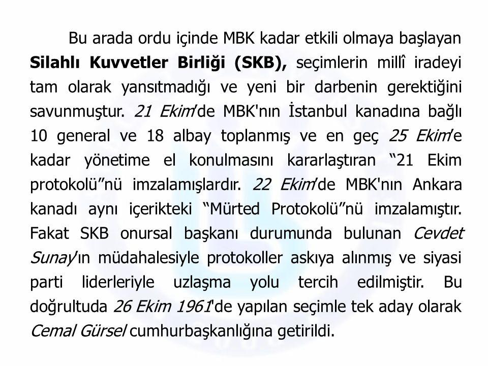 Bu arada ordu içinde MBK kadar etkili olmaya başlayan Silahlı Kuvvetler Birliği (SKB), seçimlerin millî iradeyi tam olarak yansıtmadığı ve yeni bir da
