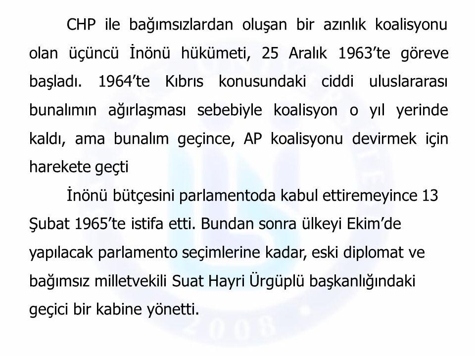 CHP ile bağımsızlardan oluşan bir azınlık koalisyonu olan üçüncü İnönü hükümeti, 25 Aralık 1963'te göreve başladı. 1964'te Kıbrıs konusundaki ciddi ul