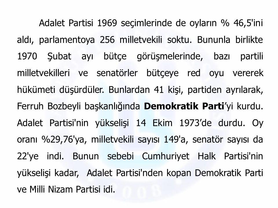 Adalet Partisi 1969 seçimlerinde de oyların % 46,5'ini aldı, parlamentoya 256 milletvekili soktu. Bununla birlikte 1970 Şubat ayı bütçe görüşmelerinde