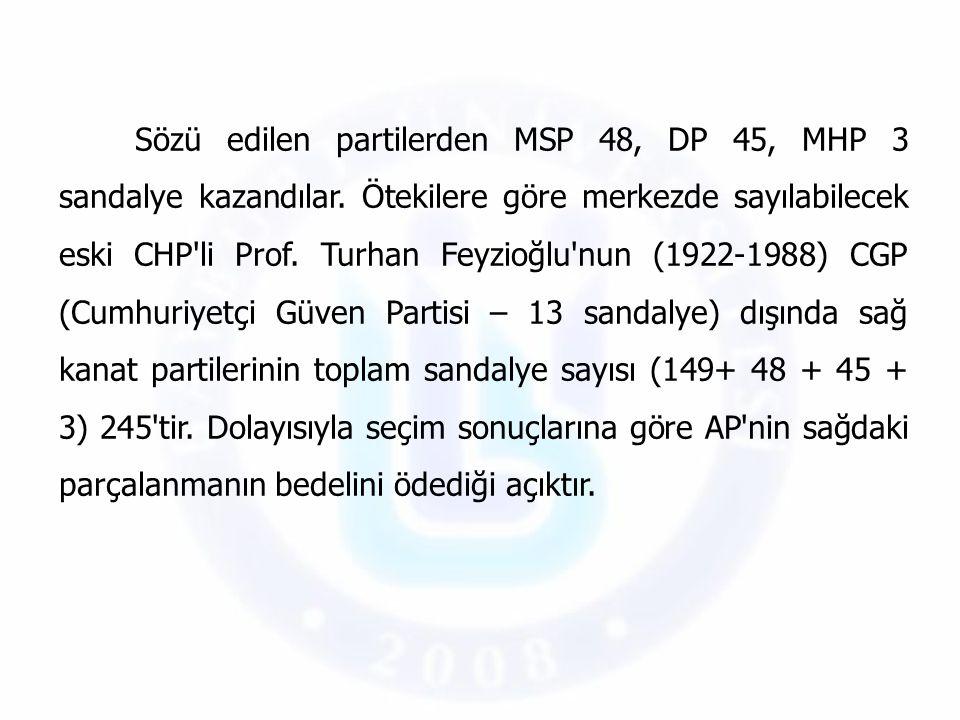 Sözü edilen partilerden MSP 48, DP 45, MHP 3 sandalye kazandılar. Ötekilere göre merkezde sayılabilecek eski CHP'li Prof. Turhan Feyzioğlu'nun (1922-1