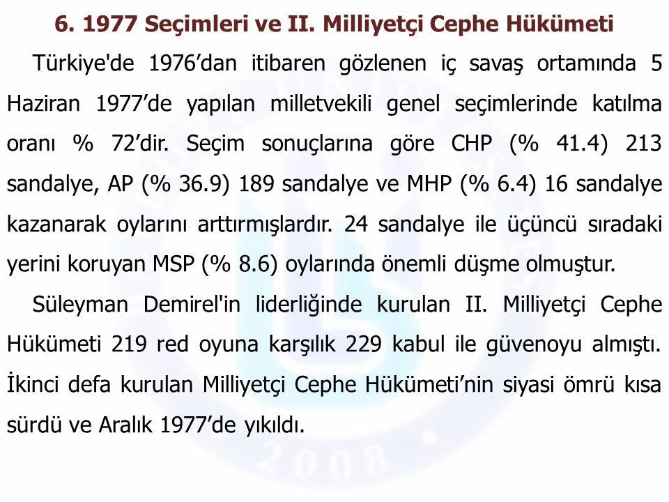 6. 1977 Seçimleri ve II. Milliyetçi Cephe Hükümeti Türkiye'de 1976'dan itibaren gözlenen iç savaş ortamında 5 Haziran 1977'de yapılan milletvekili gen