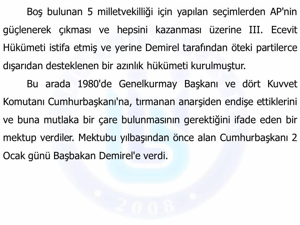 Boş bulunan 5 milletvekilliği için yapılan seçimlerden AP'nin güçlenerek çıkması ve hepsini kazanması üzerine III. Ecevit Hükümeti istifa etmiş ve yer