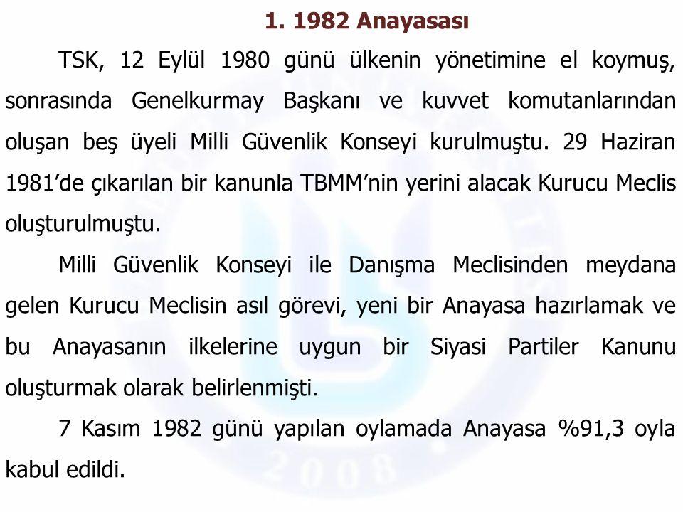 1. 1982 Anayasası TSK, 12 Eylül 1980 günü ülkenin yönetimine el koymuş, sonrasında Genelkurmay Başkanı ve kuvvet komutanlarından oluşan beş üyeli Mill