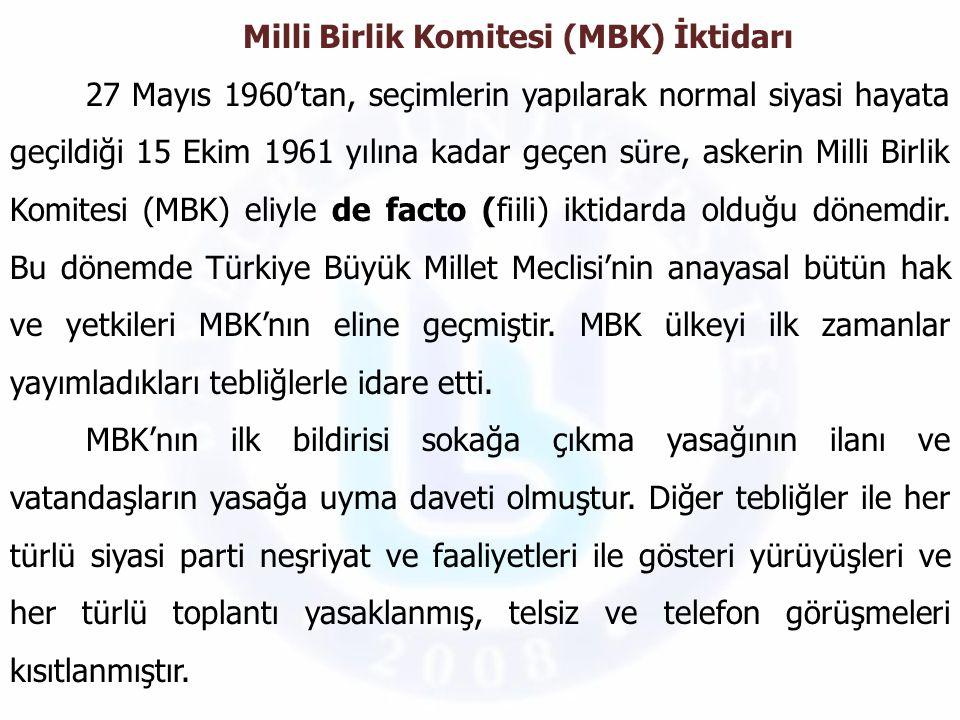 Milli Birlik Komitesi (MBK) İktidarı 27 Mayıs 1960'tan, seçimlerin yapılarak normal siyasi hayata geçildiği 15 Ekim 1961 yılına kadar geçen süre, aske