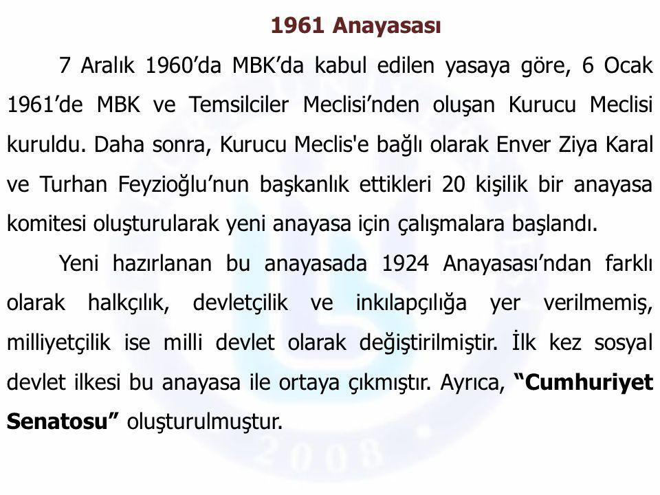 Yeni anayasanın temel hak ve özgürlüklerini korumak için bir de Anayasa Mahkemesi kurulmuştur.