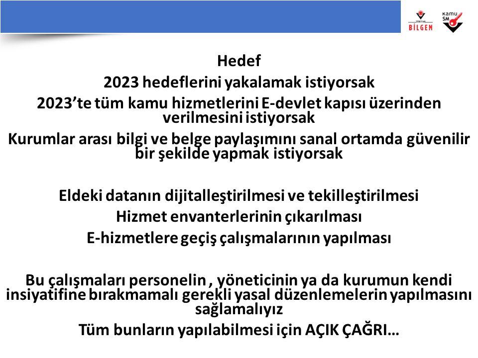 Hedef 2023 hedeflerini yakalamak istiyorsak 2023'te tüm kamu hizmetlerini E-devlet kapısı üzerinden verilmesini istiyorsak Kurumlar arası bilgi ve bel