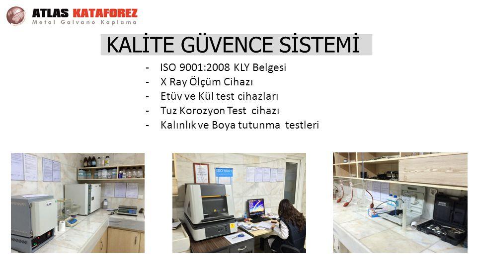 KALİTE GÜVENCE SİSTEMİ - ISO 9001:2008 KLY Belgesi -X Ray Ölçüm Cihazı -Etüv ve Kül test cihazları -Tuz Korozyon Test cihazı -Kalınlık ve Boya tutunma testleri