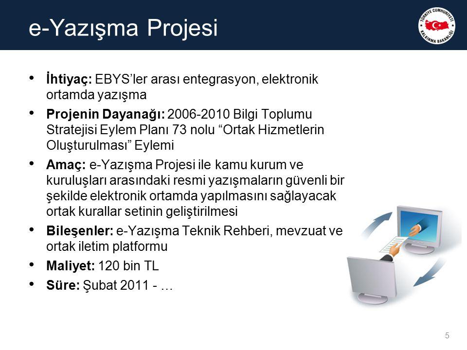 """İhtiyaç: EBYS'ler arası entegrasyon, elektronik ortamda yazışma Projenin Dayanağı: 2006-2010 Bilgi Toplumu Stratejisi Eylem Planı 73 nolu """"Ortak Hizme"""