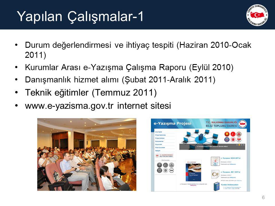 Durum değerlendirmesi ve ihtiyaç tespiti (Haziran 2010-Ocak 2011) Kurumlar Arası e-Yazışma Çalışma Raporu (Eylül 2010) Danışmanlık hizmet alımı (Şubat