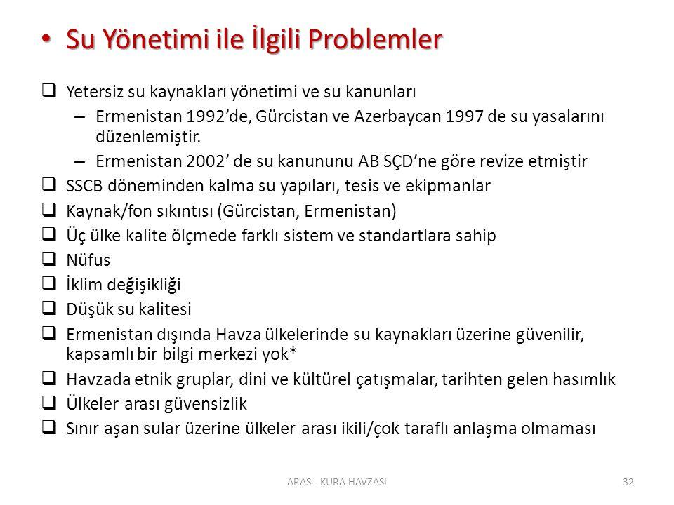 Su Yönetimi ile İlgili Problemler Su Yönetimi ile İlgili Problemler  Yetersiz su kaynakları yönetimi ve su kanunları – Ermenistan 1992'de, Gürcistan