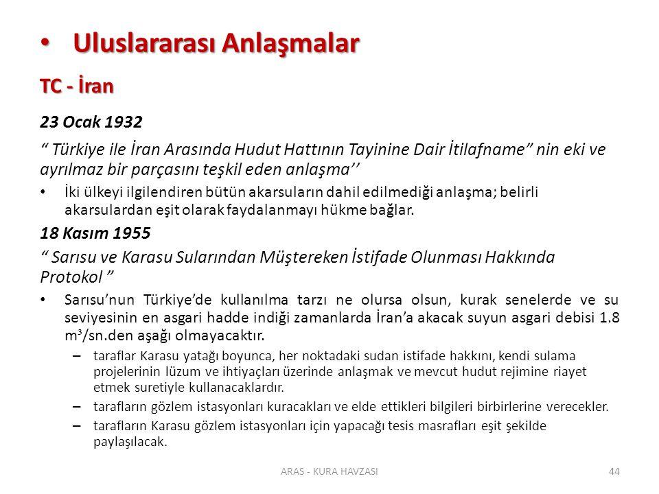 """TC - İran 23 Ocak 1932 """" Türkiye ile İran Arasında Hudut Hattının Tayinine Dair İtilafname"""" nin eki ve ayrılmaz bir parçasını teşkil eden anlaşma'' İk"""