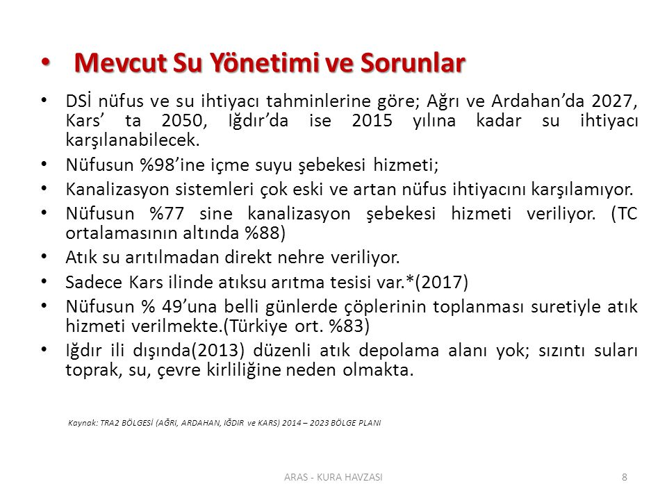 Havza Paydaşları Havza Paydaşları ÜlkeHavzadaki Alanı (km²) Toplam Havzaya Oranı (%) Havzadaki alanın tüm ülke alanına oranı (%) Azerbaycan60 02031,5 69,3 İran37 08019,5 2,1 Gürcistan34 56018,2 49,6 Ermenistan29 80015,7 100,0 Türkiye28 79015,1 3,7 TOPLAM 190 250 190 250 ARAS - KURA HAVZASI19 Kaynak: FAO Aquastat
