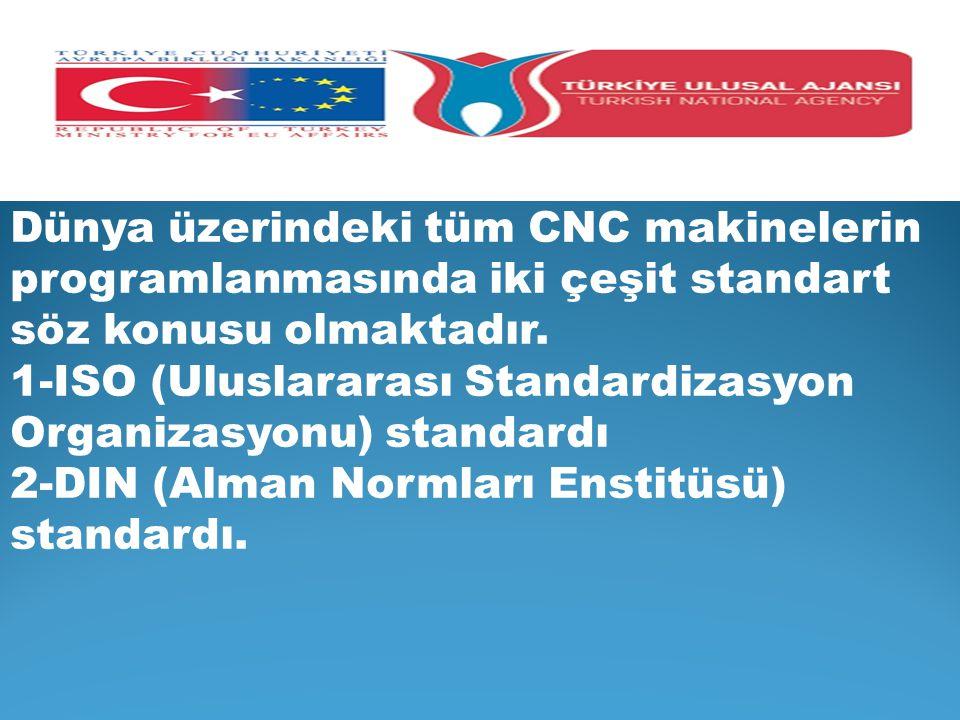 Dünya üzerindeki tüm CNC makinelerin programlanmasında iki çeşit standart söz konusu olmaktadır. 1-ISO (Uluslararası Standardizasyon Organizasyonu) st