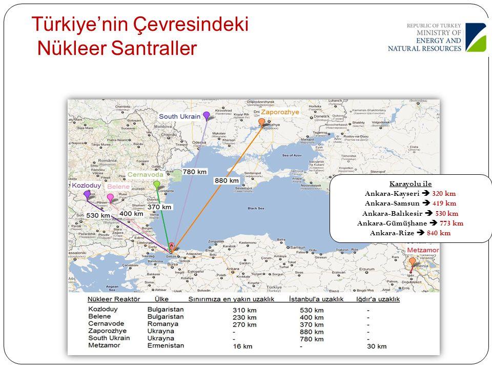 Karayolu ile Ankara-Kayseri  320 km Ankara-Samsun  419 km Ankara-Balıkesir  530 km Ankara-Gümü ş hane  773 km Ankara-Rize  840 km Türkiye'nin Çev