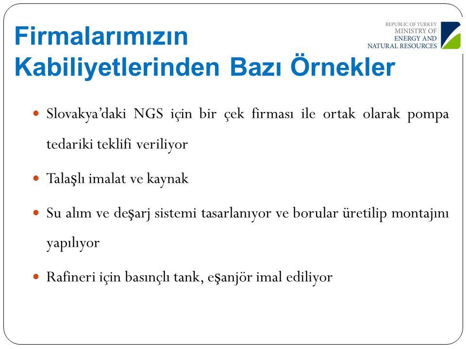 Firmalarımızın Kabiliyetlerinden Bazı Örnekler Slovakya'daki NGS için bir çek firması ile ortak olarak pompa tedariki teklifi veriliyor Tala ş lı imal