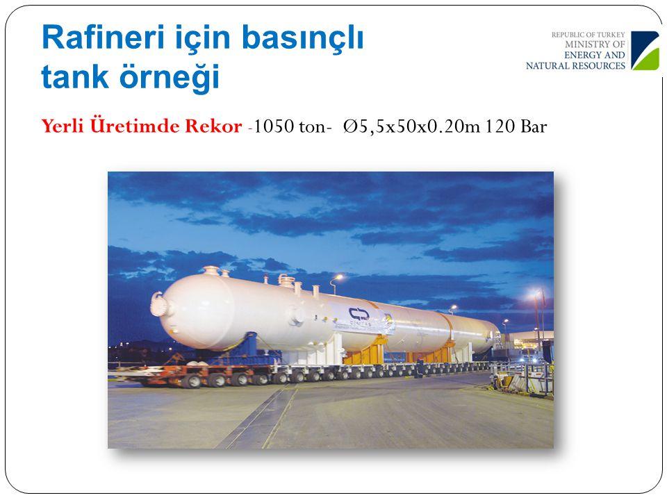 Rafineri için basınçlı tank örneği Yerli Üretimde Rekor - 1050 ton- Ø5,5x50x0.20m 120 Bar