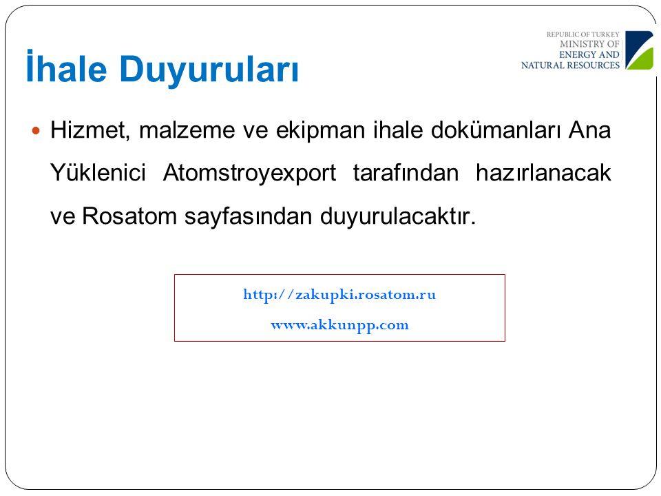 İhale Duyuruları Hizmet, malzeme ve ekipman ihale dokümanları Ana Yüklenici Atomstroyexport tarafından hazırlanacak ve Rosatom sayfasından duyurulacak