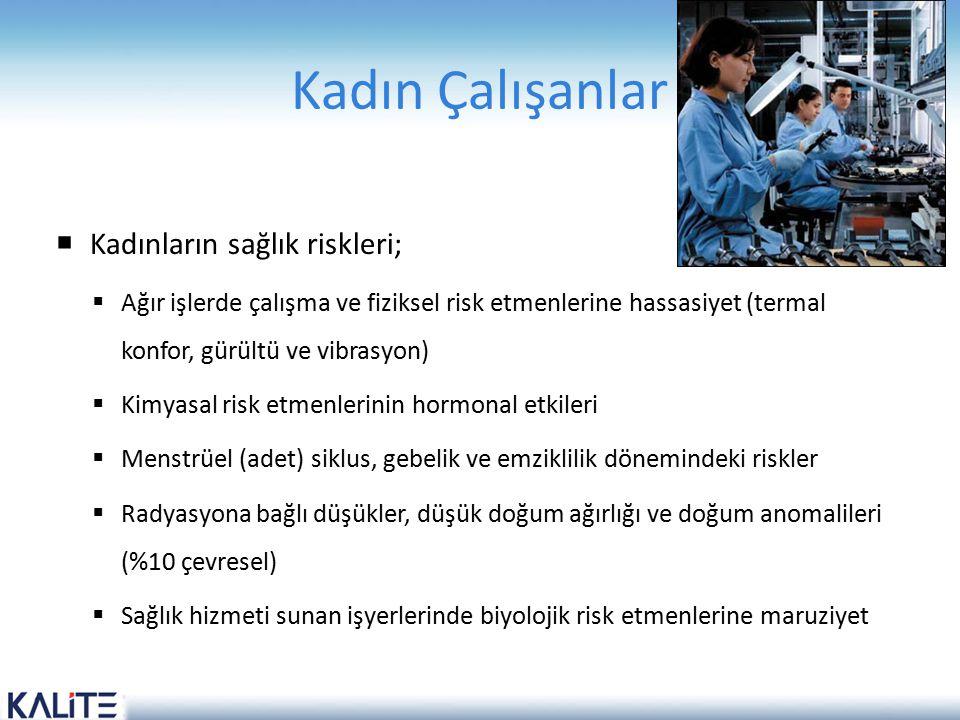 Kadın Çalışanlar  Kadınların sağlık riskleri;  Ağır işlerde çalışma ve fiziksel risk etmenlerine hassasiyet (termal konfor, gürültü ve vibrasyon) 
