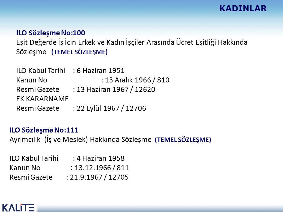 ILO Sözleşme No:100 Eşit Değerde İş İçin Erkek ve Kadın İşçiler Arasında Ücret Eşitliği Hakkında Sözleşme (TEMEL SÖZLEŞME) ILO Kabul Tarihi : 6 Haziran 1951 Kanun No : 13 Aralık 1966 / 810 Resmi Gazete : 13 Haziran 1967 / 12620 EK KARARNAME Resmi Gazete : 22 Eylül 1967 / 12706 ILO Sözleşme No:111 Ayrımcılık (İş ve Meslek) Hakkında Sözleşme (TEMEL SÖZLEŞME) ILO Kabul Tarihi : 4 Haziran 1958 Kanun No : 13.12.1966 / 811 Resmi Gazete : 21.9.1967 / 12705 KADINLAR