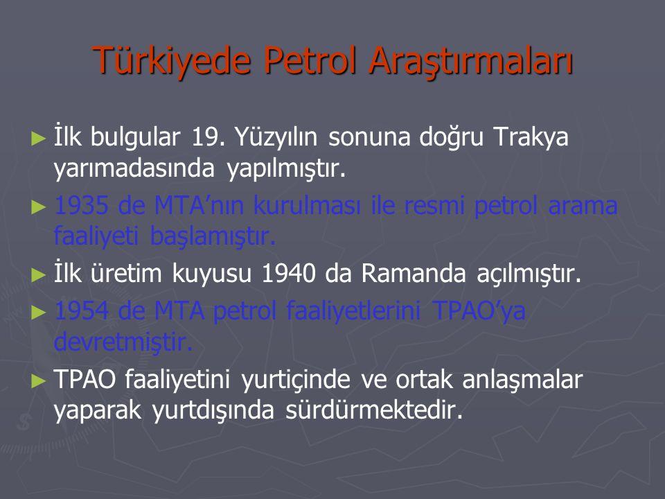 Türkiyede Petrol Araştırmaları ► ► İlk bulgular 19. Yüzyılın sonuna doğru Trakya yarımadasında yapılmıştır. ► ► 1935 de MTA'nın kurulması ile resmi pe