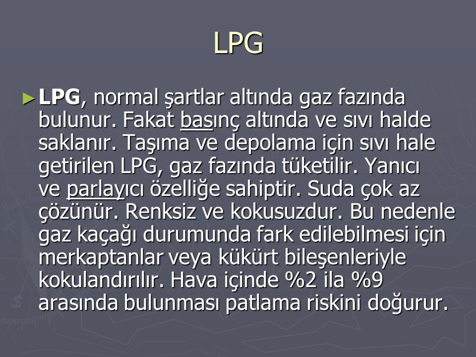 LPG ► LPG, normal şartlar altında gaz fazında bulunur. Fakat basınç altında ve sıvı halde saklanır. Taşıma ve depolama için sıvı hale getirilen LPG, g