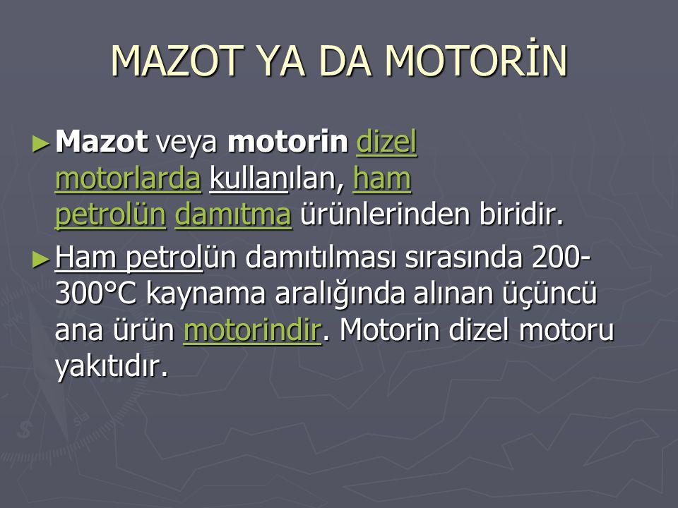 MAZOT YA DA MOTORİN ► Mazot veya motorin dizel motorlarda kullanılan, ham petrolün damıtma ürünlerinden biridir. dizel motorlardaham petrolündamıtmadi