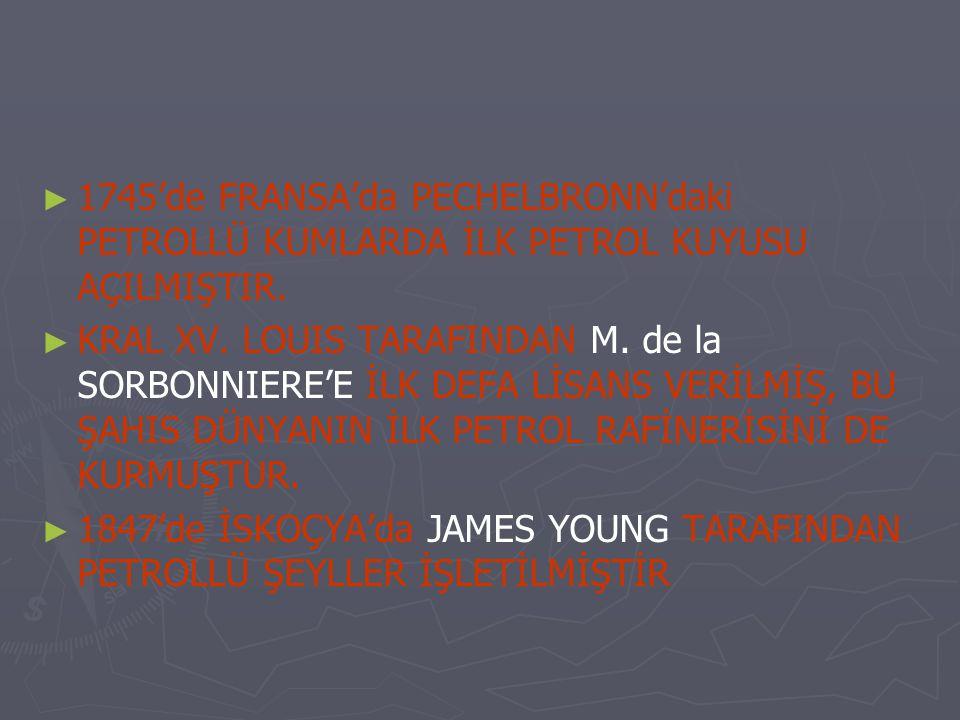 ► ► 1745'de FRANSA'da PECHELBRONN'daki PETROLLÜ KUMLARDA İLK PETROL KUYUSU AÇILMIŞTIR. ► ► KRAL XV. LOUIS TARAFINDAN M. de la SORBONNIERE'E İLK DEFA L