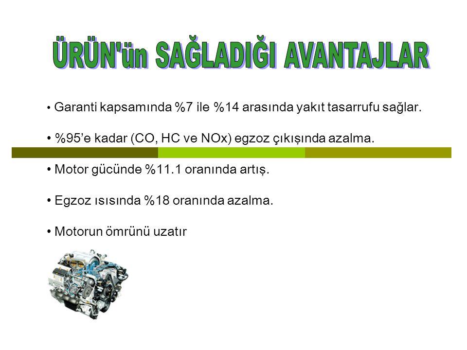 Garanti kapsamında %7 ile %14 arasında yakıt tasarrufu sağlar. %95'e kadar (CO, HC ve NOx) egzoz çıkışında azalma. Motor gücünde %11.1 oranında artış.