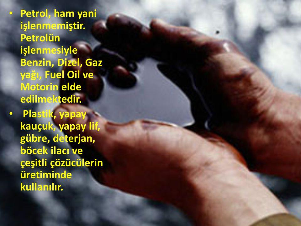 Petrol, ham yani işlenmemiştir. Petrolün işlenmesiyle Benzin, Dizel, Gaz yağı, Fuel Oil ve Motorin elde edilmektedir. Plastik, yapay kauçuk, yapay lif