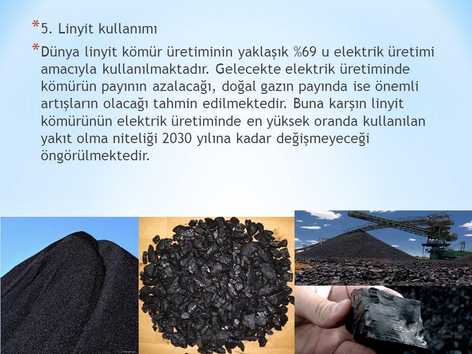 * 5. Linyit kullanımı * Dünya linyit kömür üretiminin yaklaşık %69 u elektrik üretimi amacıyla kullanılmaktadır. Gelecekte elektrik üretiminde kömürün