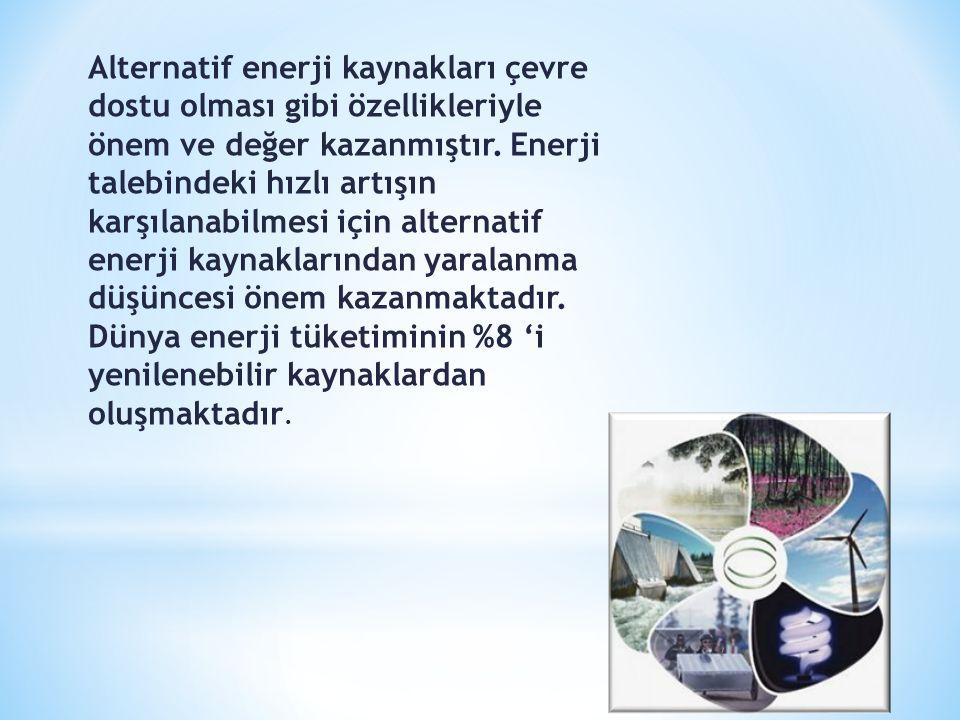 Alternatif enerji kaynakları çevre dostu olması gibi özellikleriyle önem ve değer kazanmıştır. Enerji talebindeki hızlı artışın karşılanabilmesi için
