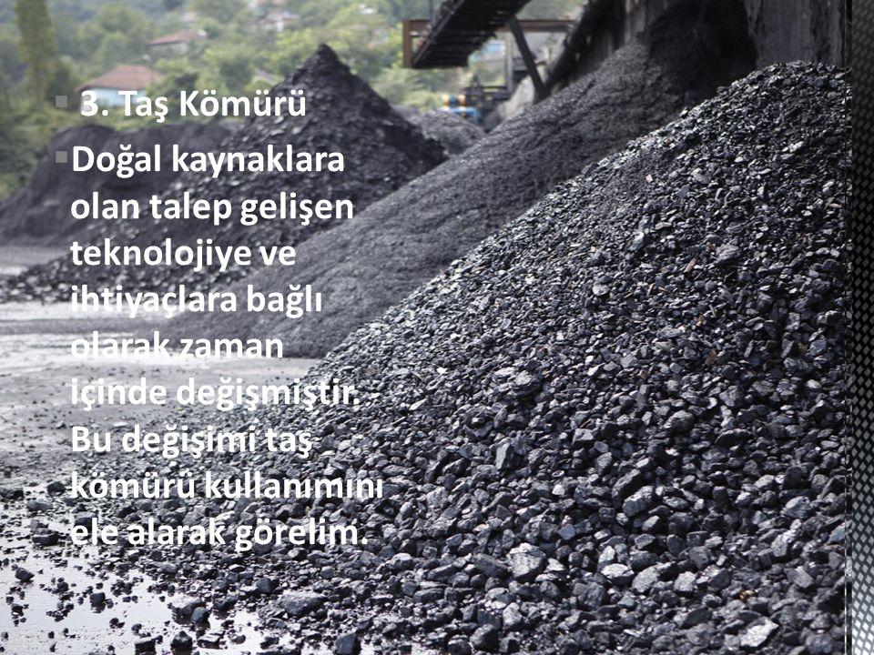  3. Taş Kömürü  Doğal kaynaklara olan talep gelişen teknolojiye ve ihtiyaçlara bağlı olarak zaman içinde değişmiştir. Bu değişimi taş kömürü kullanı