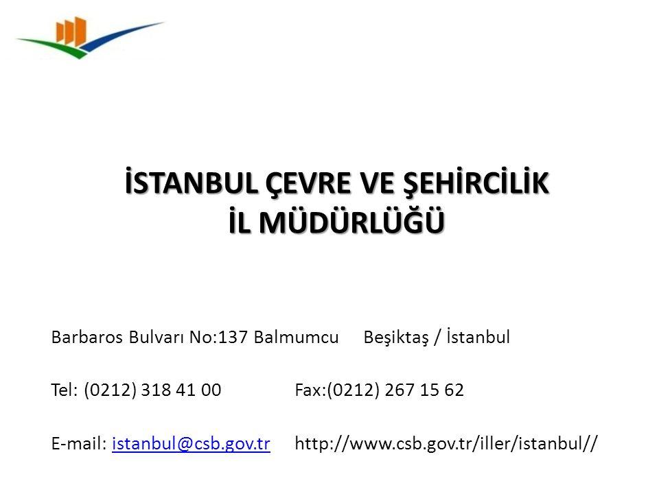 Barbaros Bulvarı No:137 Balmumcu Beşiktaş / İstanbul Tel: (0212) 318 41 00 Fax:(0212) 267 15 62 E-mail: istanbul@csb.gov.tr http://www.csb.gov.tr/ille