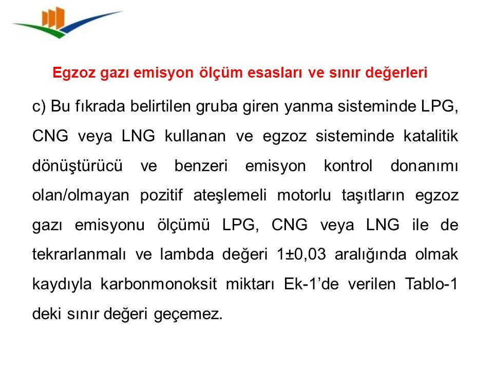 Egzoz gazı emisyon ölçüm esasları ve sınır değerleri c) Bu fıkrada belirtilen gruba giren yanma sisteminde LPG, CNG veya LNG kullanan ve egzoz sistemi