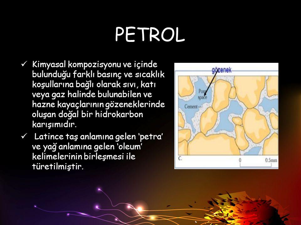 PETROL Kimyasal kompozisyonu ve içinde bulunduğu farklı basınç ve sıcaklık koşullarına bağlı olarak sıvı, katı veya gaz halinde bulunabilen ve hazne k