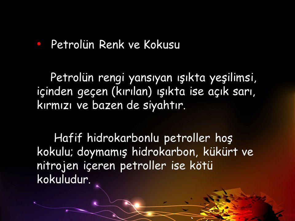 Petrolün Renk ve Kokusu Petrolün rengi yansıyan ışıkta yeşilimsi, içinden geçen (kırılan) ışıkta ise açık sarı, kırmızı ve bazen de siyahtır. Hafif hi