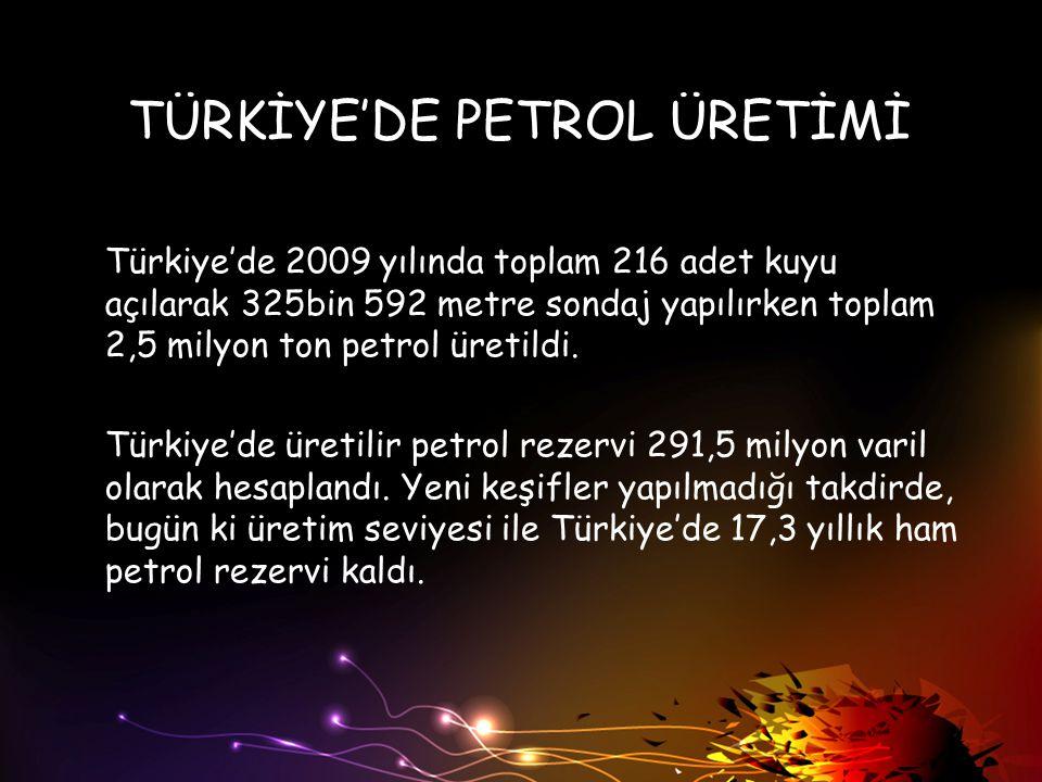 TÜRKİYE'DE PETROL ÜRETİMİ Türkiye'de 2009 yılında toplam 216 adet kuyu açılarak 325bin 592 metre sondaj yapılırken toplam 2,5 milyon ton petrol üretil