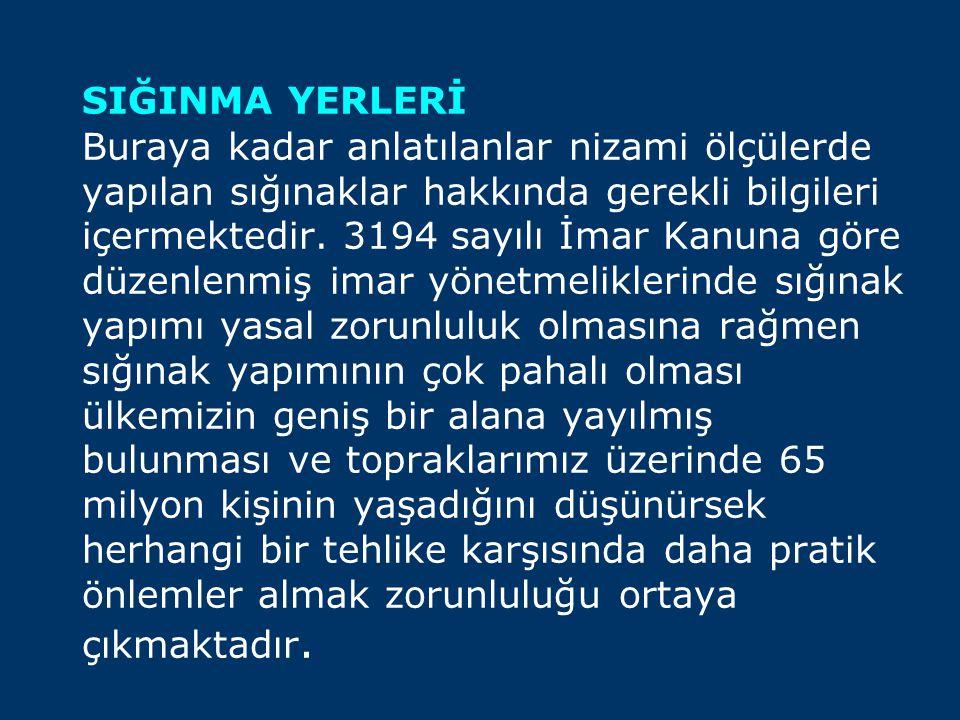 SIĞINMA YERLERİ Buraya kadar anlatılanlar nizami ölçülerde yapılan sığınaklar hakkında gerekli bilgileri içermektedir. 3194 sayılı İmar Kanuna göre dü
