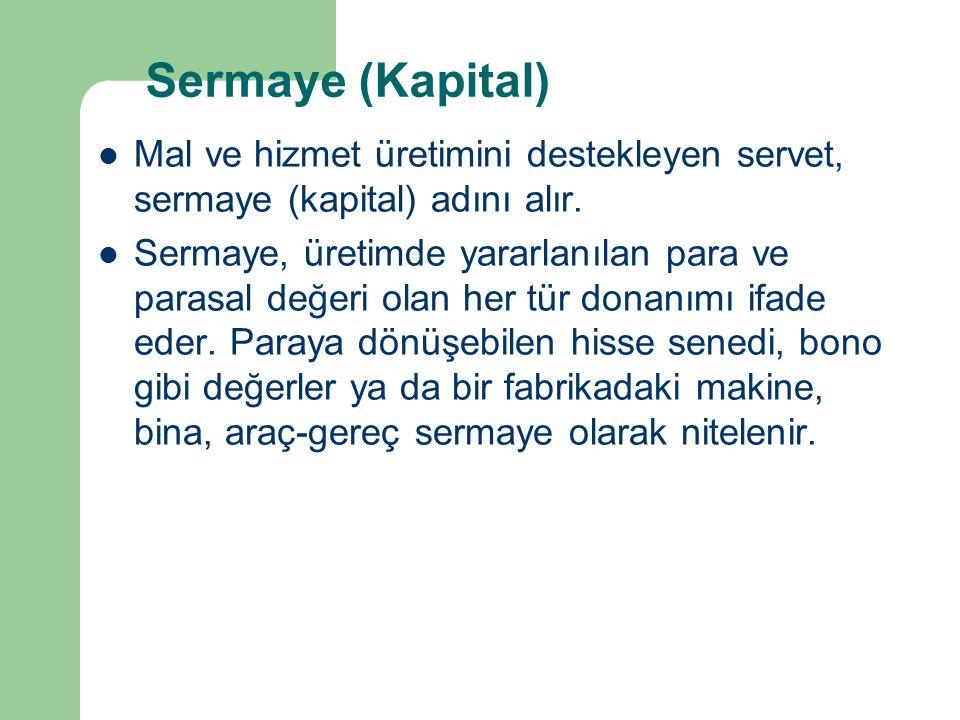 Sermaye (Kapital) Mal ve hizmet üretimini destekleyen servet, sermaye (kapital) adını alır. Sermaye, üretimde yararlanılan para ve parasal değeri olan