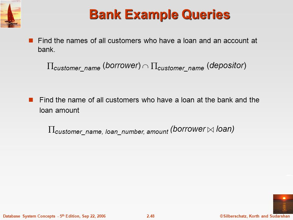 ©Silberschatz, Korth and Sudarshan2.48Database System Concepts - 5 th Edition, Sep 22, 2006 Bank Example Queries Find the names of all customers who h