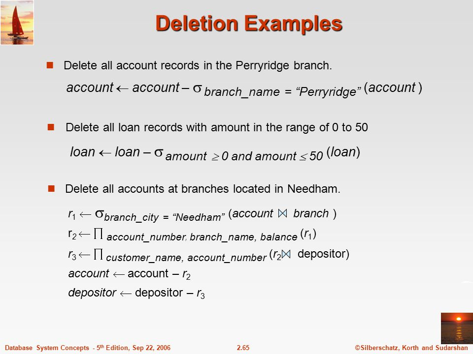 ©Silberschatz, Korth and Sudarshan2.65Database System Concepts - 5 th Edition, Sep 22, 2006 Deletion Examples Delete all account records in the Perryr