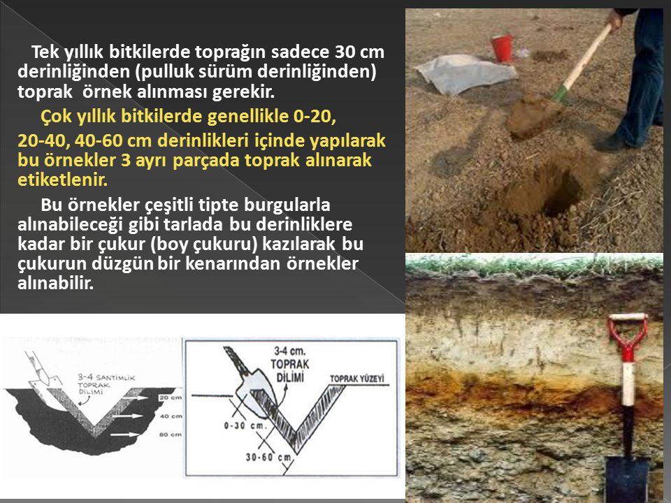 Tek yıllık bitkilerde toprağın sadece 30 cm derinliğinden (pulluk sürüm derinliğinden) toprak örnek alınması gerekir. Çok yıllık bitkilerde genellikle
