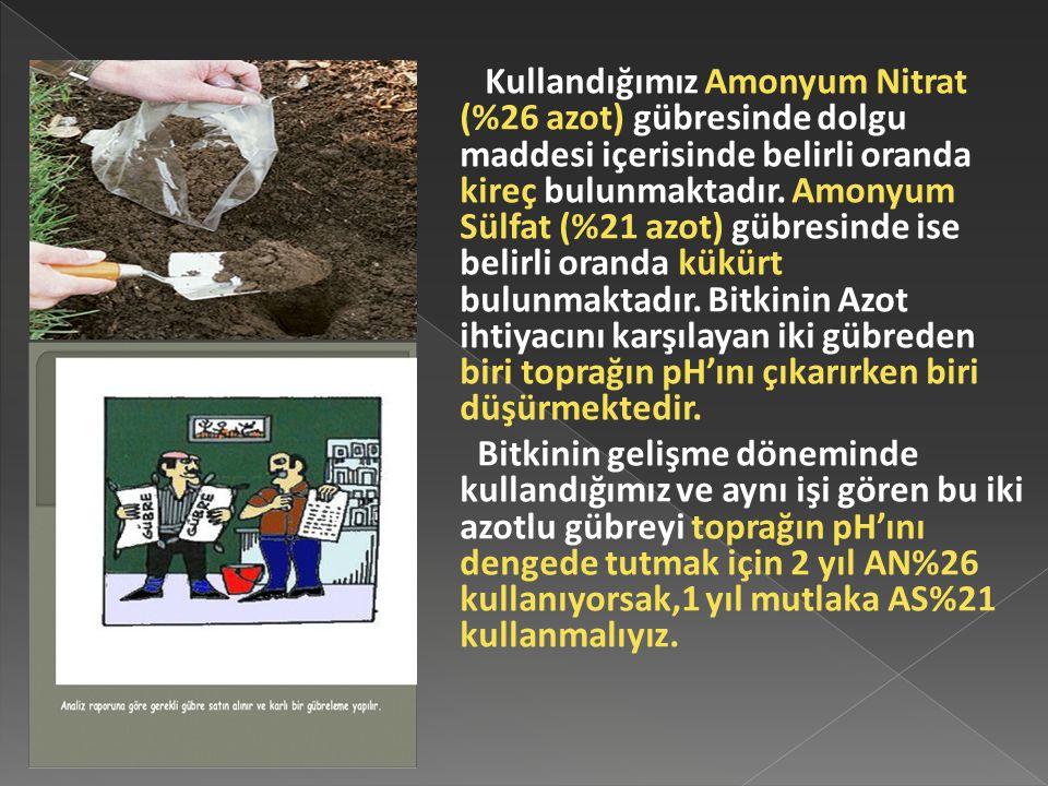 Kullandığımız Amonyum Nitrat (%26 azot) gübresinde dolgu maddesi içerisinde belirli oranda kireç bulunmaktadır. Amonyum Sülfat (%21 azot) gübresinde i