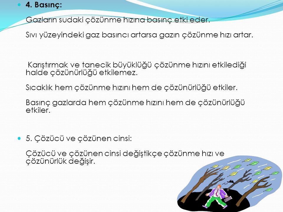 4.Basınç: Gazların sudaki çözünme hızına basınç etki eder.