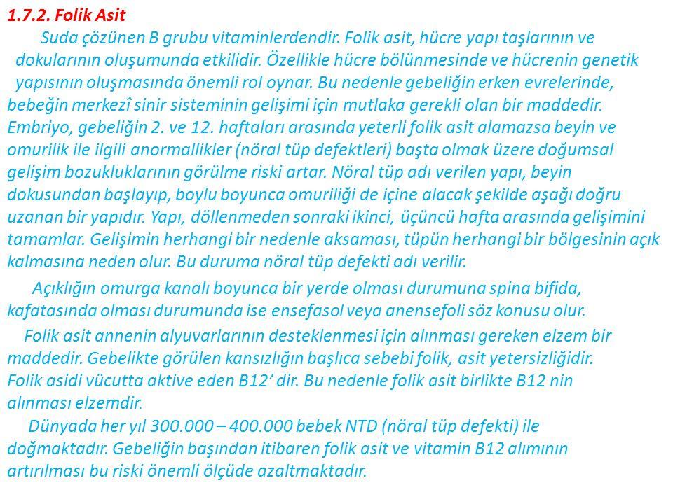 1.7.2.Folik Asit Suda çözünen B grubu vitaminlerdendir.