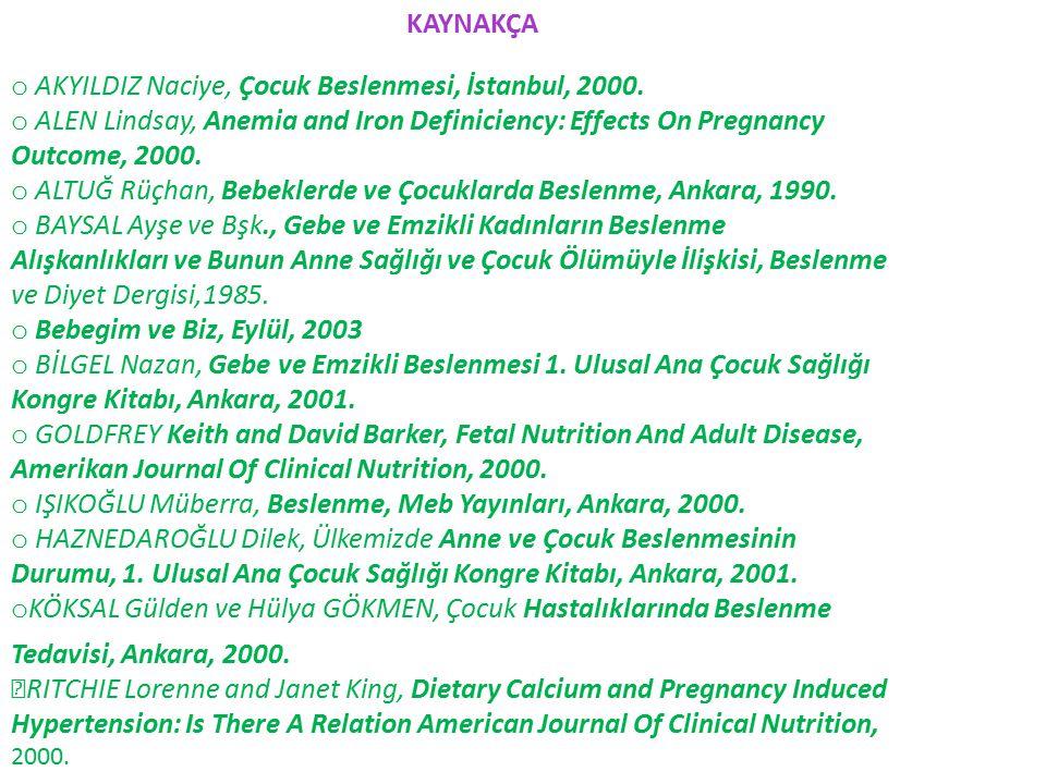KAYNAKÇA o AKYILDIZ Naciye, Çocuk Beslenmesi, İstanbul, 2000.