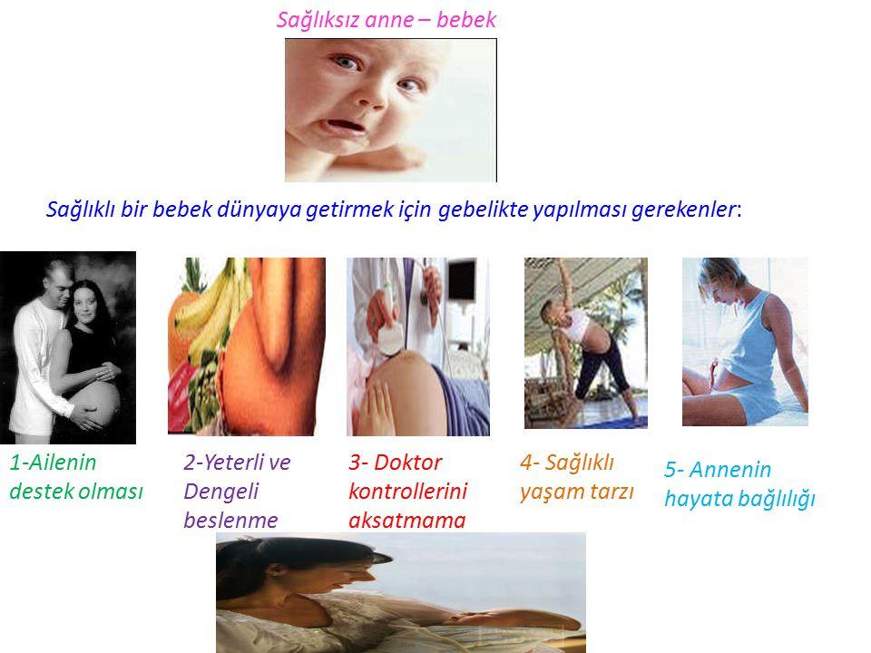 Sağlıksız anne – bebek Sağlıklı bir bebek dünyaya getirmek için gebelikte yapılması gerekenler: 1-Ailenin destek olması 2-Yeterli ve Dengeli beslenme 3- Doktor kontrollerini aksatmama 4- Sağlıklı yaşam tarzı 5- Annenin hayata bağlılığı