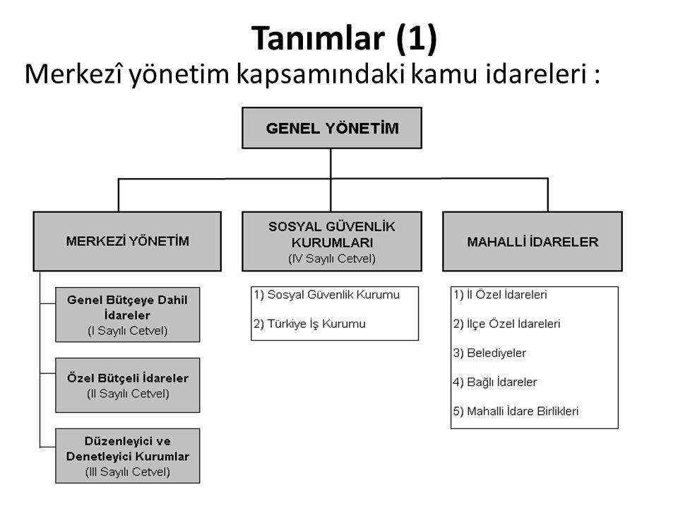 Tanımlar (1) Merkezî yönetim kapsamındaki kamu idareleri :